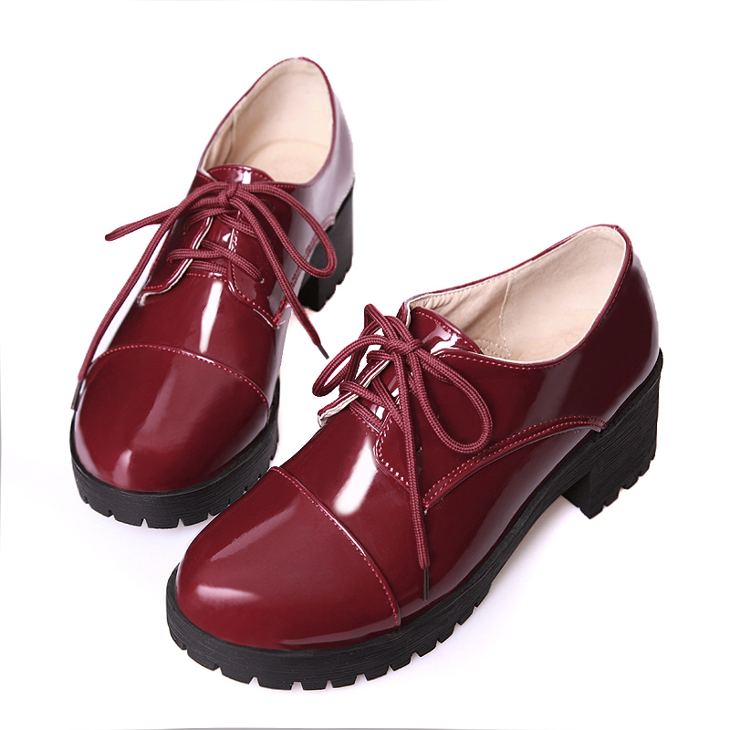 KEBEIORITY Women Flats Leather Oxford Shoes for Women Lace Up Platform Round Toe Casual Spring Shoes Red Black Oxfords Women beffery 2018 spring patent leather shoes women flats round toe casual shoes vintage british style flats platform shoes for women