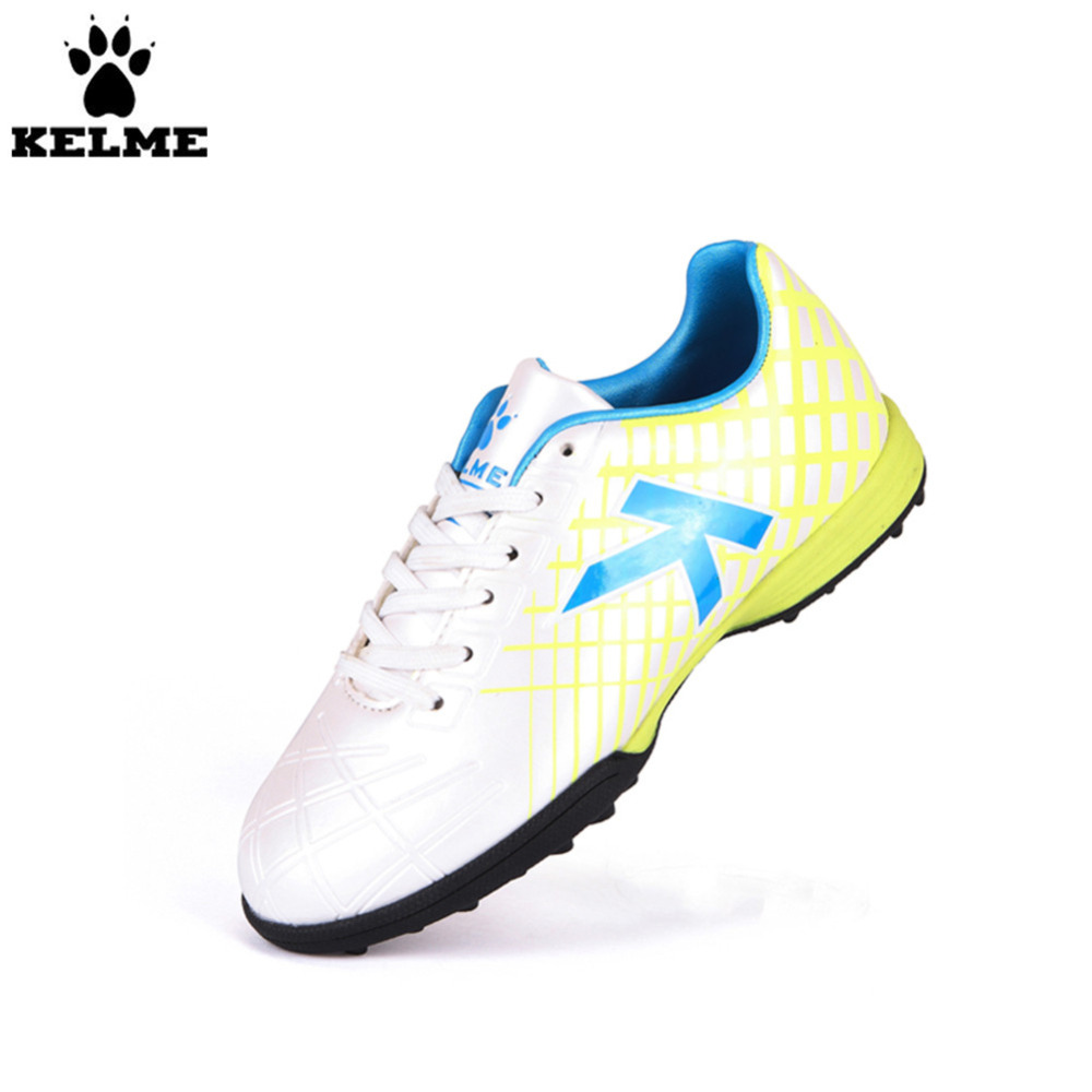 KELME Hot Sale White Children Soccer Shoes Rubber All Seasons Sport Training Football Boots health top soccer shoes kids football boots cleats futsal shoes adult child crushed breathable sport football shoes plus 36 45