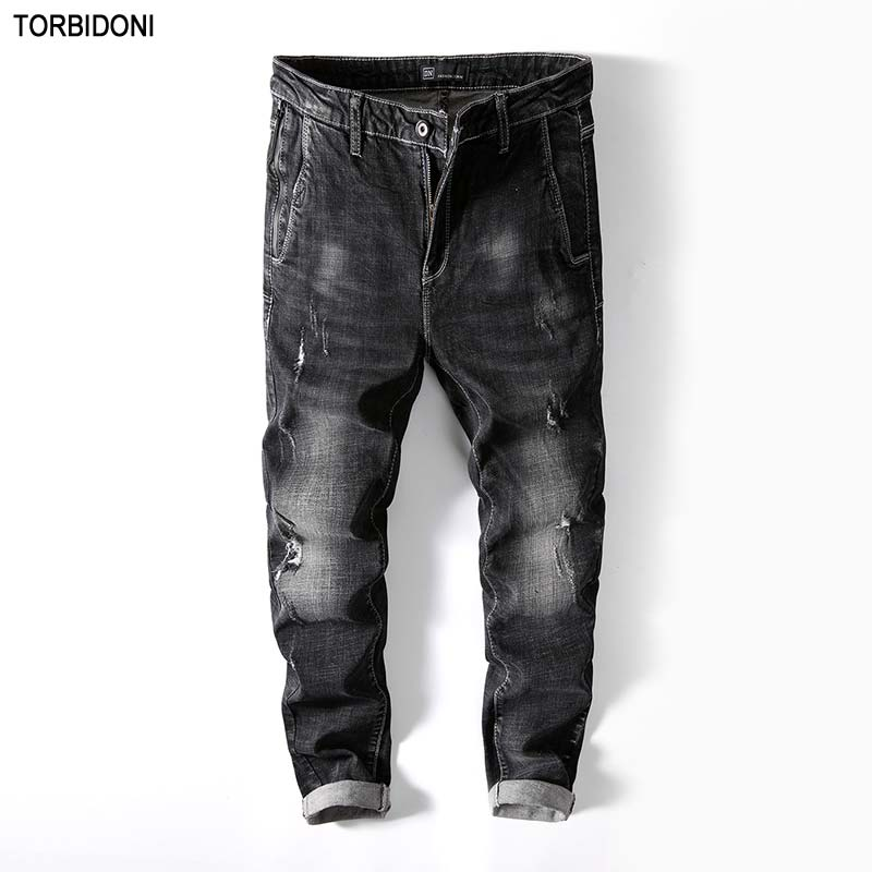 Brand New Mens Hole Jeans Distressed Jaqueta Jeans Slim Fit Distressed Pencil Pants Street Fashion Cool Scratched Denim Jeans