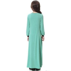 Image 3 - Elatic Trẻ Em quần áo Truyền Thống Thời Trang Đầm Bé Gái Hồi Giáo hồi giáo Dubai tiếng Ả Rập abaya Trẻ Em thoub jubah VKDR1330