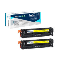 LCL 305A CE412A CE412 412A 2 Pack Yellow Toner Cartridge Compatible For HP Laserjet Enterprise 300