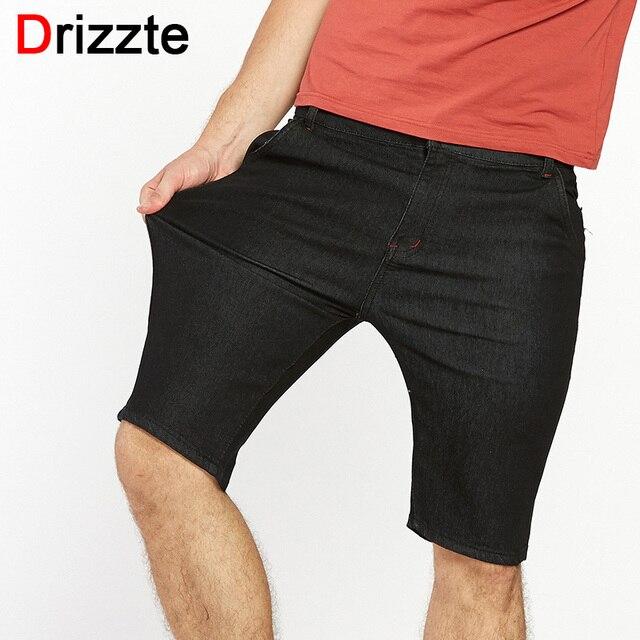 Drizzte Marca Moda Delgado Stretch Pantalones Cortos Con Estilo Con Puño  Negro Oscuro Pantalones Cortos de fc7190b50d7f