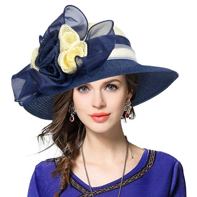 70fece41 HISSHE Ladies Kentucky Derby Church Dress Wedding Hat Straw Floral Wide  Brim Beach Tea Party Hat