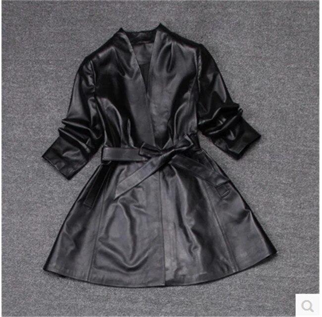 Véritable Printemps Peau Et Automne Femmes Noir Nouveau De Tranchée Mouton TPuOZikX