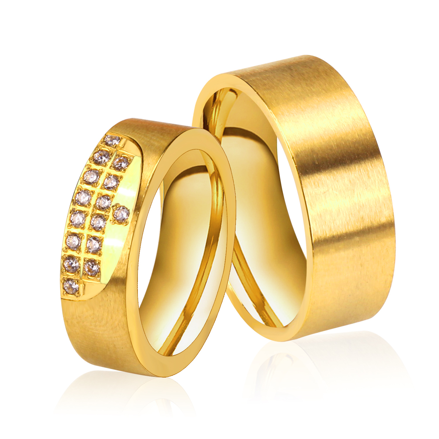 Online New Gold Color Wedding Rings Stainless Steel Pair With Cz Stone 2017 Fashion Aliexpress Mobile
