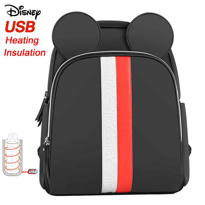 Disney Mummy Diaper Bag USB Bottle Heating Insulation Bag Mother Nappy Feeding Baby Care Nappy Changing