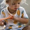 Nova marca de Verão Crianças Camiseta de Algodão impressão abacaxi Mangas Curtas do menino meninas bebê camisetas crianças roupas de queda livre grátis