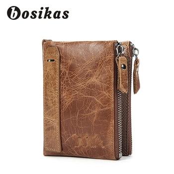 BOSIKAS Genuine Leather Wallet Men Wallets Clutch Zipper Short Men Fold Wallet Vintage Coin Pocket Purse Wallets Men Money Clips