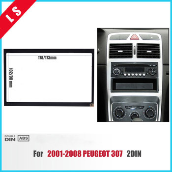 2 Din Car Refitting Radio Fascia for 2001-2008 PEUGEOT 307 2Din Dash Mount Kit Adaptor CD Trim Panel Auto Stereo Audio Frame image
