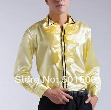 Envío libre luz de oro/blanco con volantes desgastes bowtie decoración mens smoking camisetas camisas del partido/evento camisas
