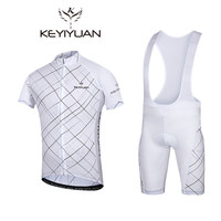 KEYIYUAN White Cycling Jersey Bib shorts Sets Men Bike Clothing Suits Bicycle Top Bottom Pro Cycling Wear Shirts mtb Clothes