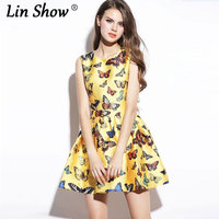 Linshow 쉬폰 민소매 무릎 최소 여름 dress 여성
