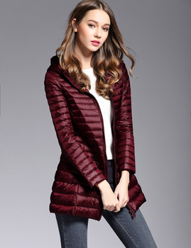 Woman Spring Padded Hooded Long Jacket White Duck Down Female Overcoat Ultra Light Slim Solid Jackets Coat Portable Parkas 4