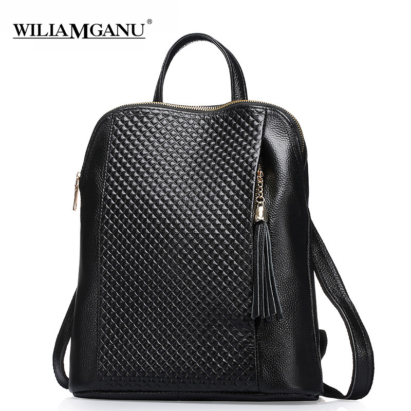 WILIAMGANU Genuine Leather Backpackswomen backp School Style Cowhide Travel Bag Real Leather Backpack Female Brand Designer 0718 zoole brand genuine leather backpacks women school style cowhide travel bag ladies real leather backpack female designer mochila