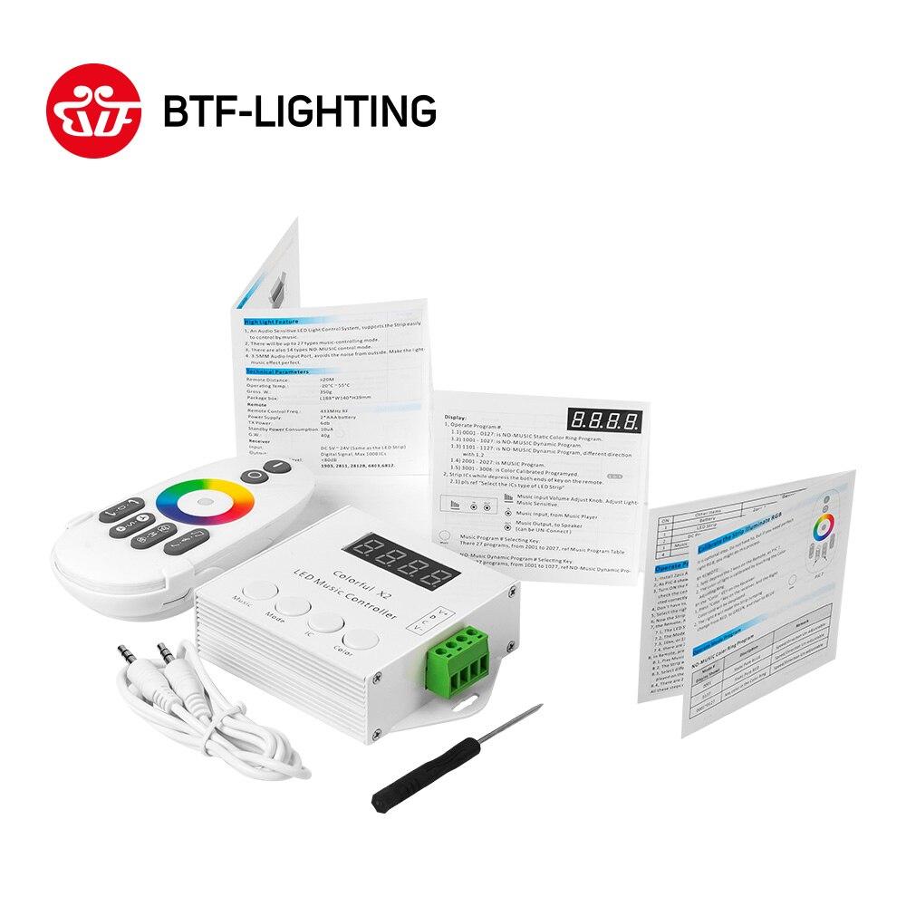 Contrôleur de musique X2 pour bande de LED WS2812B/WS2811/WS2813/USC1903 Modules DC5V-24V entrée Max 1000 pixels avec télécommande tactile RF
