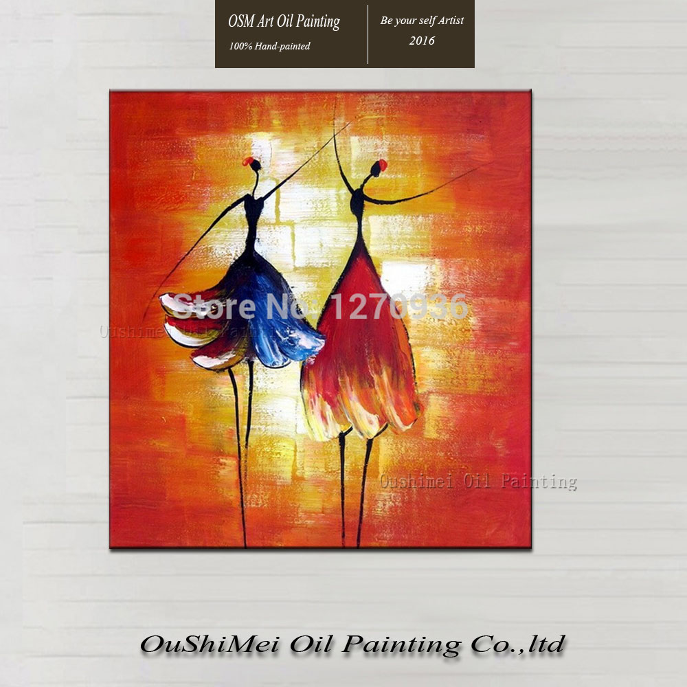 Hand Painted Abstract Oil Painting On Canvas Two Dancing Girls Wall Artwork Dancer In Calligraphy From