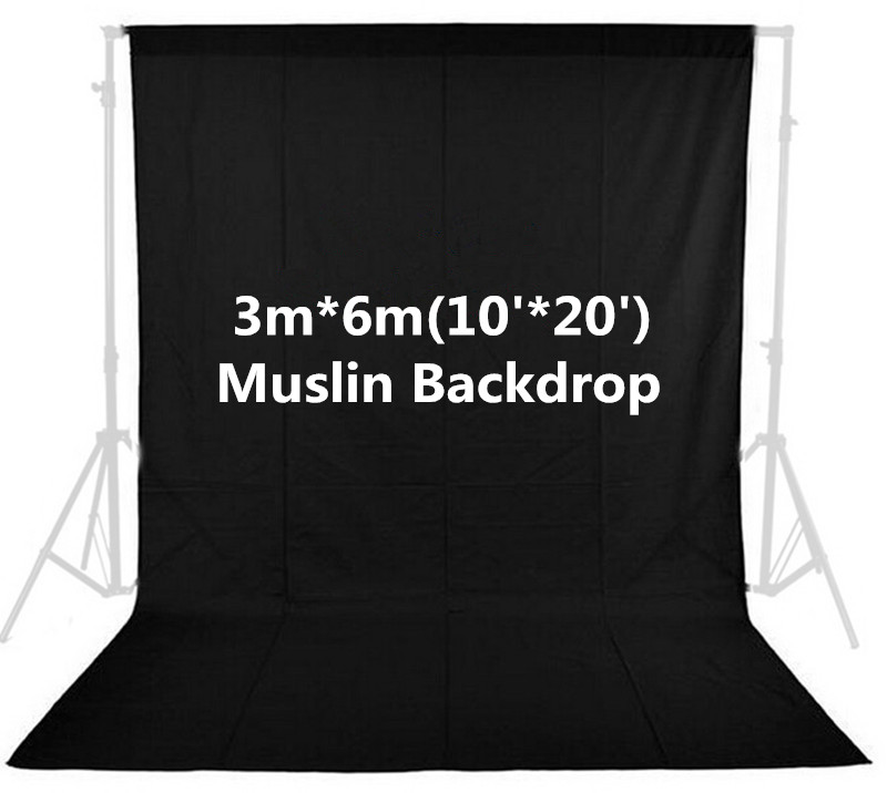 Photo Studio 10ft x 20ft 3m x 6m Solid Black Muslin Backdrop Photography Backgrounds Backdrops Hot Selling inno photo studio photography 10ft x 20ft 3m x 6m studio solid background muslin backdrop green 100% cotton high quality psb3b