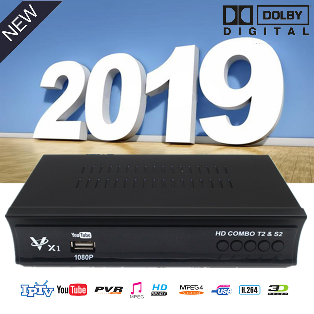 DVB T2 S2 Receiver Hd Digital Terrestrial Tv Tuner Support Dolby WIFI Bisskey Youtube Mp3 Decoder H.264 1080p Cable Television