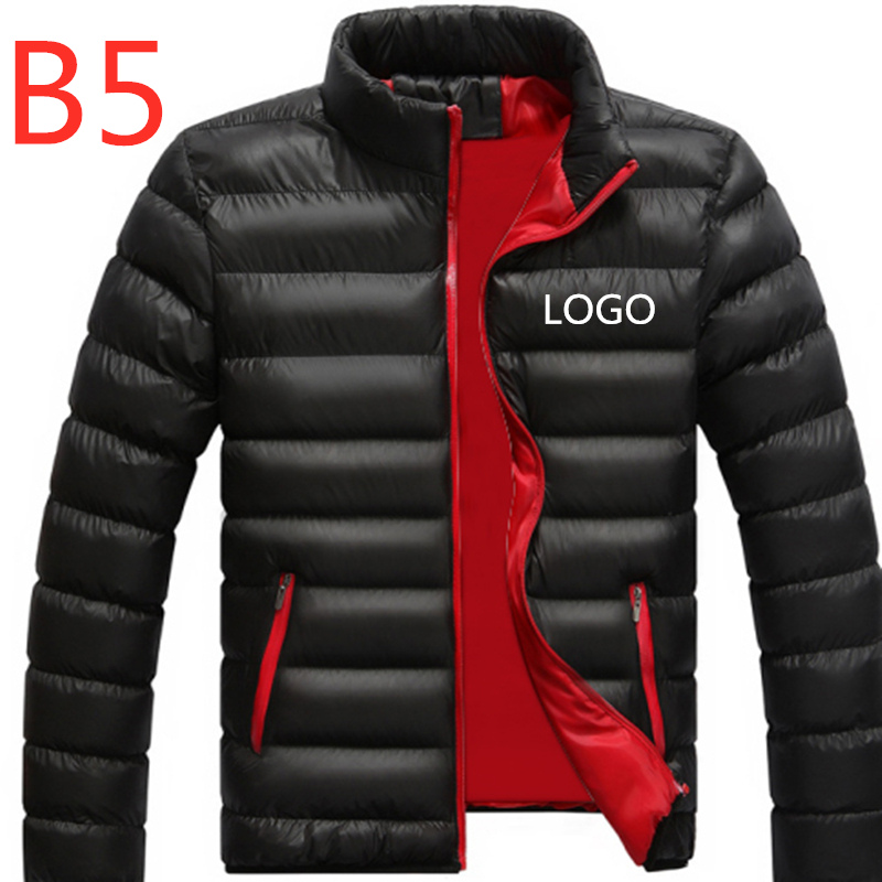 B5 Men's Custom Velvet Thicken   Coats   Logo Solid Color Duck   Down   Men Winter Jacket Regular Man Outdoor Wear Male Snow Warm Zipper