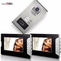 SmartYIBA 2 Apartment Video Intercom 7 Inch Monitor Video Door Phone Doorbell Kit Night Vision RFID