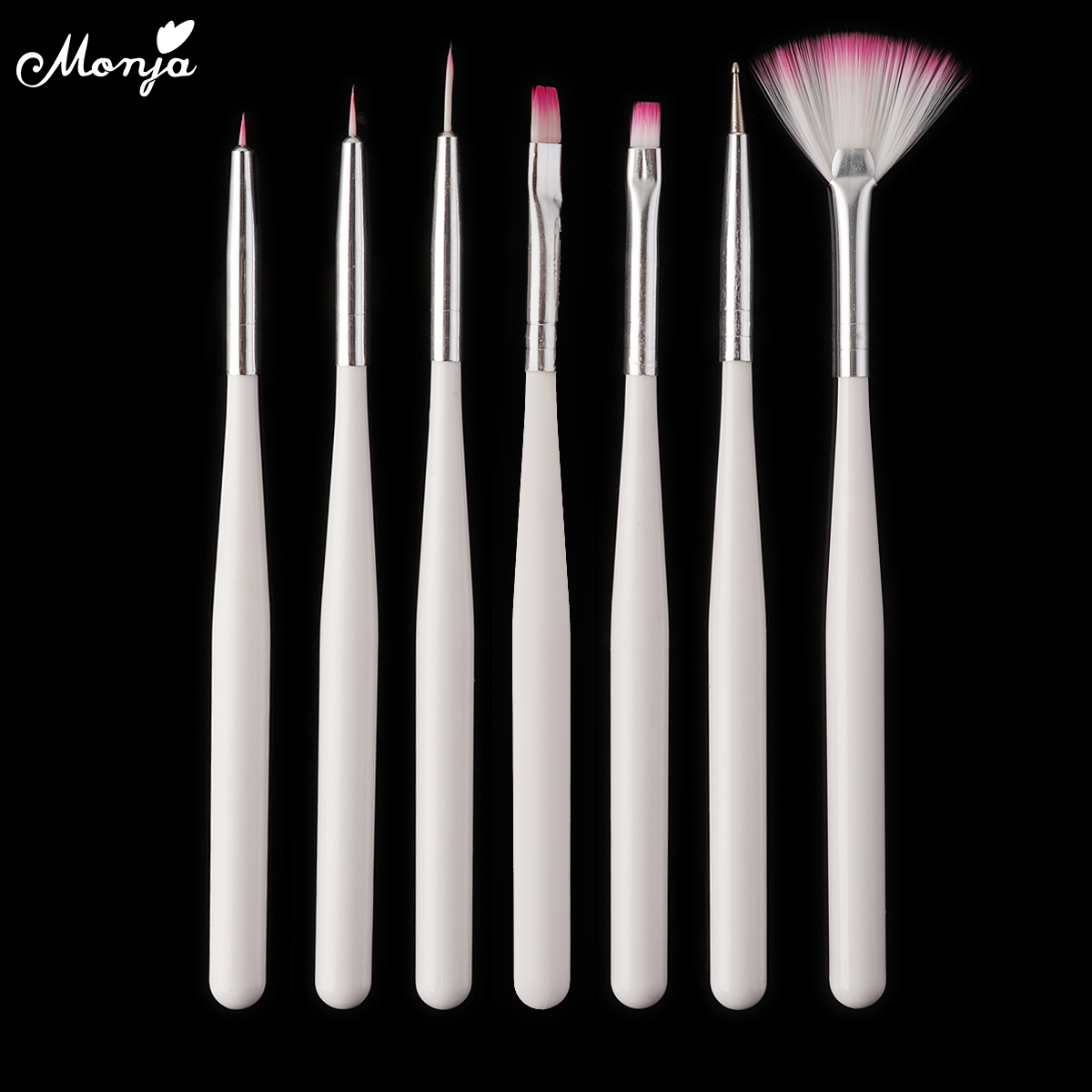 Monja 7Pcs/set Nail Art Stripes Lines Liner Painting Drawing Brush Acrylic UV GEL Extension Builder Painting Dotting Picking Pen