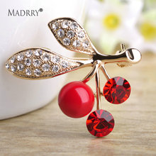 Madrry Cool Red Cherry Brooches For Women Gold Color Crystals Beads Broches Enamel Pin Collar Clips Decorations Brooch Jewelry