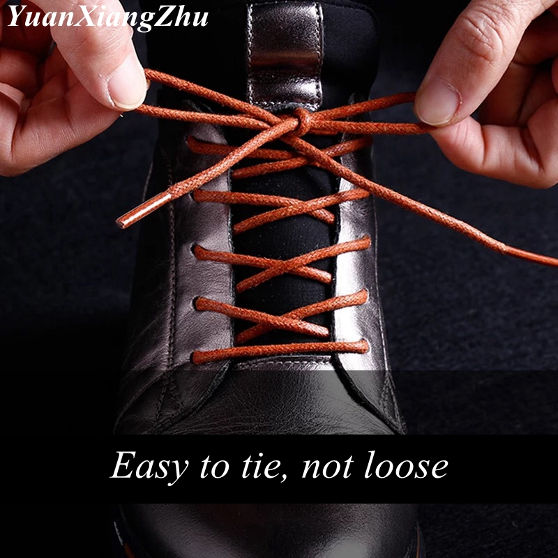 1Pair Round Waxed Coloured Shoelaces Elastic Leather Shoes Strings Boot Sport Shoe Laces Cord Casual Athletic Shoe String