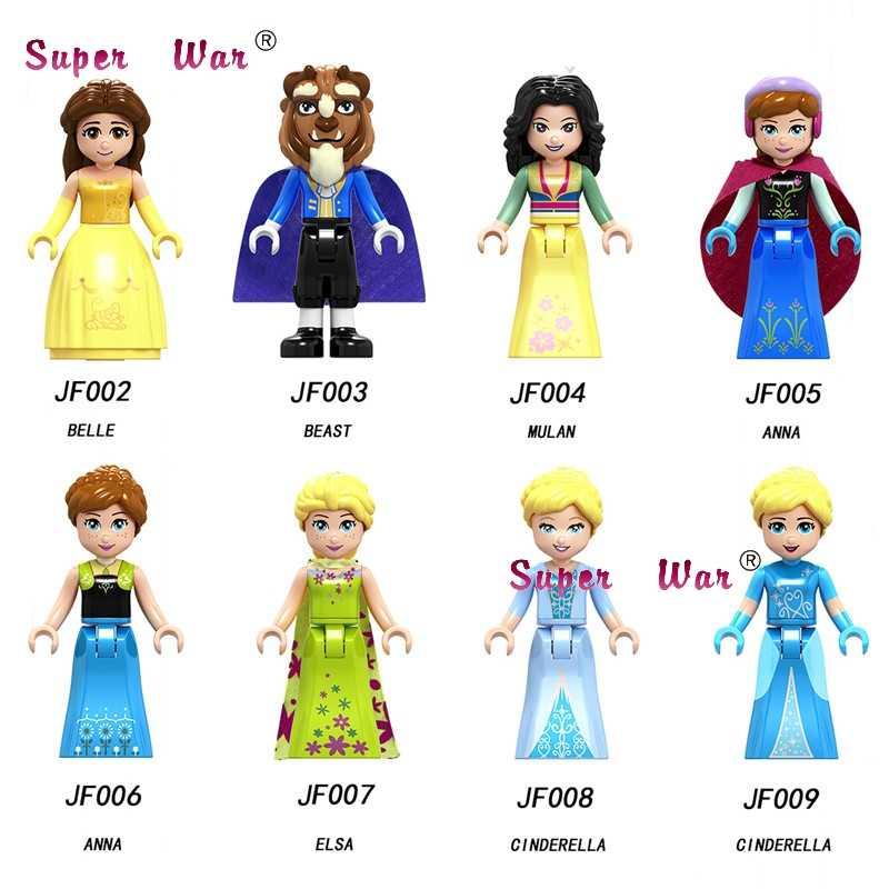 Único blocos de construção menina neve série mundial belle besta mulan anna elsa ação anna olaf brinquedos para crianças