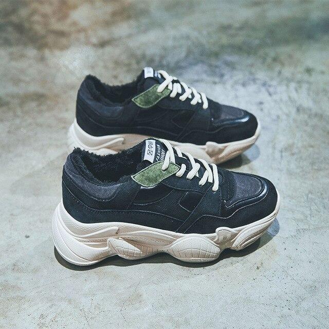 Fuego Viejos Y marrón Negro Invierno 18 Otoño Nuevo Cuero Mujer Super Zapatos De Casuales v5OPq
