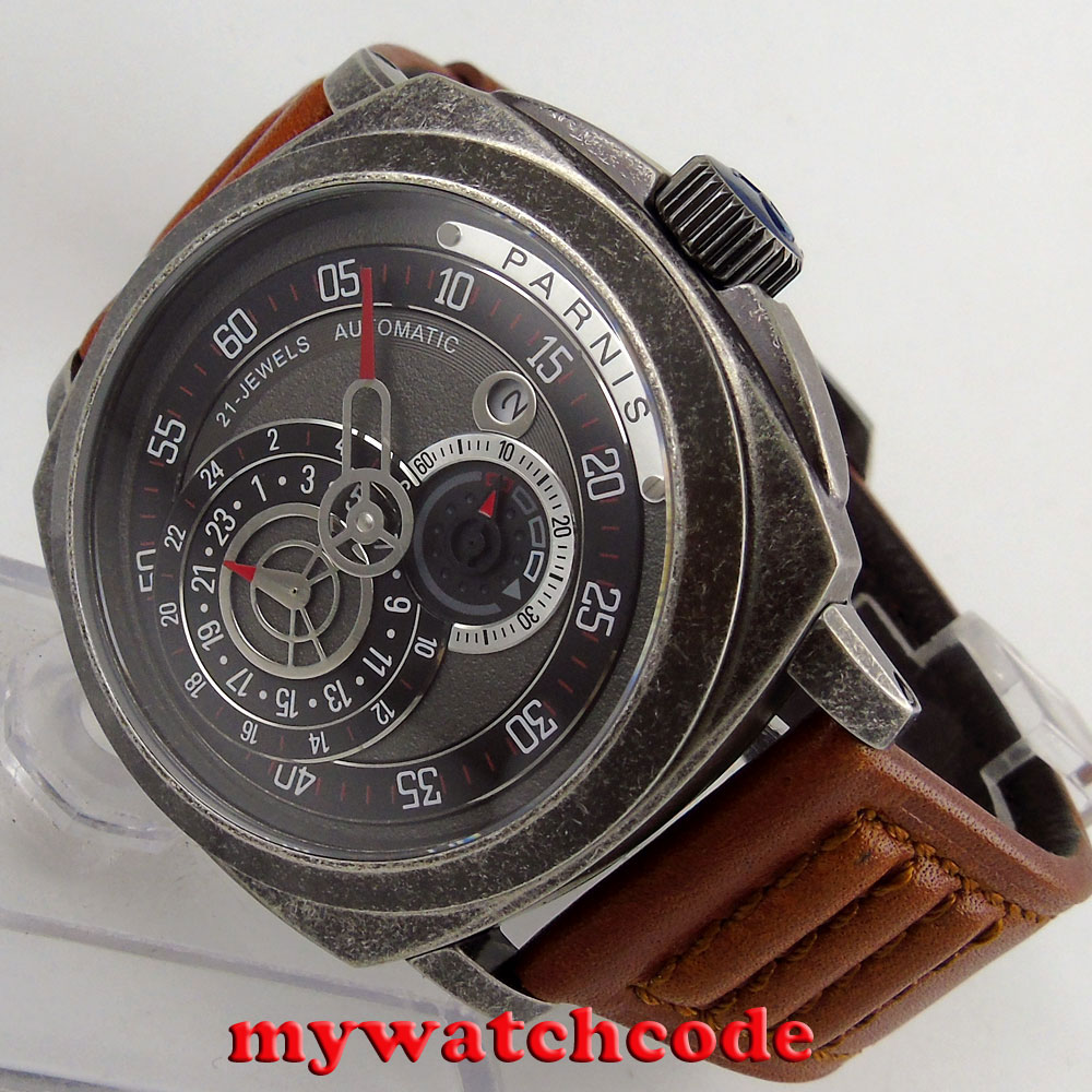 лучшая цена 44mm parnis black dial Sapphire patterned case automatic military mens Watch 789B