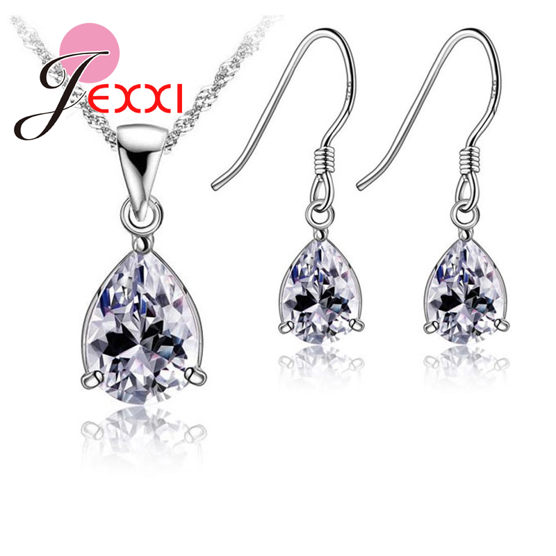 Jewelry-Sets Gift-Accessory 925-Sterling-Silver necklace Water-Drop-Crystal Wedding-Dubai
