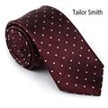 Smith a medida de Diseño Polka Dot Tie Mens de Lujo Borgoña Corbata de Seda Pura Vestido de Novia Traje de Negocios Gravata Corbata Hecha A Mano