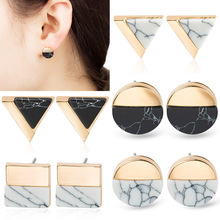 Retro Marble Stud Earrings Circle Triangular Square Half Pine Stone Geometric Earrings for Women Wedding Statement Earings WD201