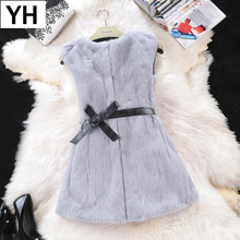2019 Hot Women Real Rabbit Fur Vest Long Style Genuine Real Rabbit Fur Gilet Full Pelt 100 Natural Rabbit Fur Sleeveless Coat cheap REGULAR Double-faced Fur O-Neck Real Fur YH3257 Covered Button Solid Casual Slim STANDARD 100 real rabbit fur