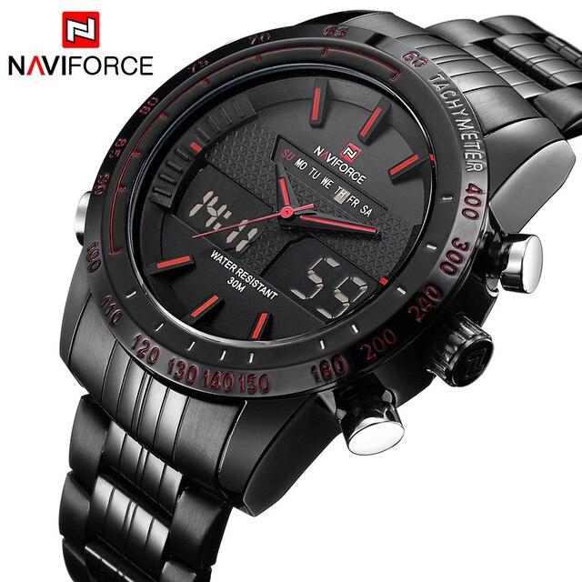 f2ff6f4b84 2017 新ファッションメンズ腕時計フル鋼メンズクォーツ時間時計アナログ LED 腕時計スポーツミリタリー