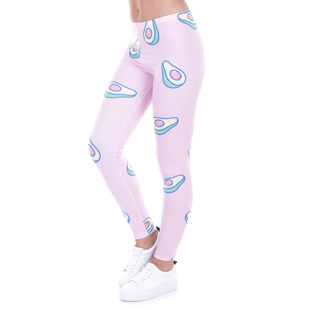 Brand Fashion Printed Women Legging 100% Brand New Leggings Avocado Pink Leggins Sexy Slim Legins High Waist Women Pants