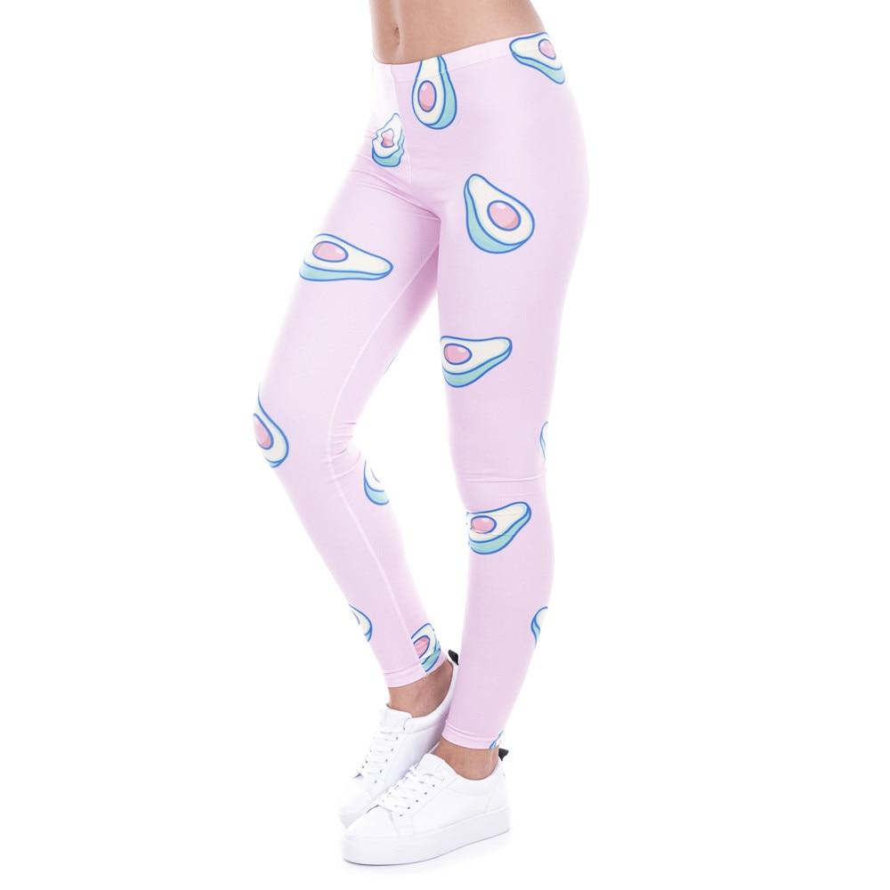 Brand Fashion Printed Women Legging 100 Brand New Leggings Avocado Pink Leggins Sexy Slim Legins High