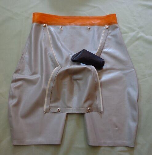 Fetiche de látex pantalones cortos con bragueta w snap y cierre de cremallera más el tamaño personalizable w/envoltura Del Pene del condón