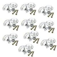 LHLL 10pcs 30mm Diamond Crystal Glass Door Drawer Cabinet Furniture Handle Knob Screw