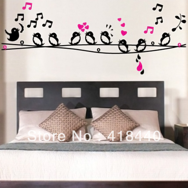 Free shipping bird musical note removable vinyl wall for Bird home decor