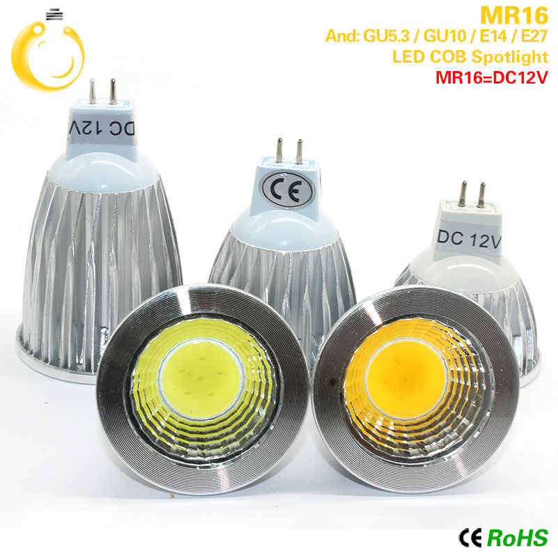 New High Power Lampada Led MR16 GU5.3 COB 15w 12w 9w Dimmable Led Cob Spotlight Warm Cool White MR16 12V Bulb Lamp GU 5.3 220V
