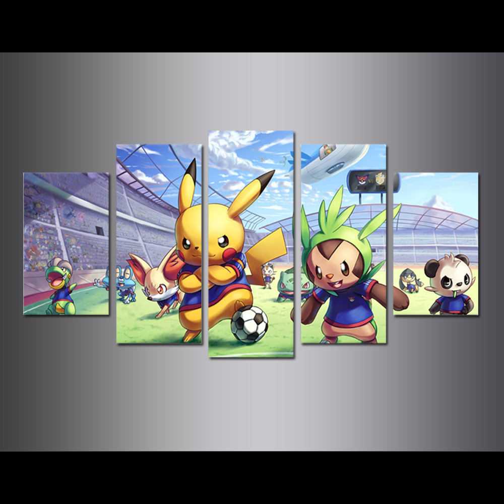 Unframed Canvas Painting Animation Pikachu Play Football Modular Picture Prints Pictures For Living Room Wall Art Decoration