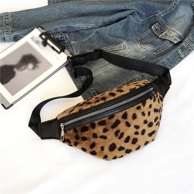 Women Chest Bag Fashion Leopard Print Waist Pack Shoulder Bags Girl Leopard Zipper Plush Messenger Chest Bag Waist Handbags