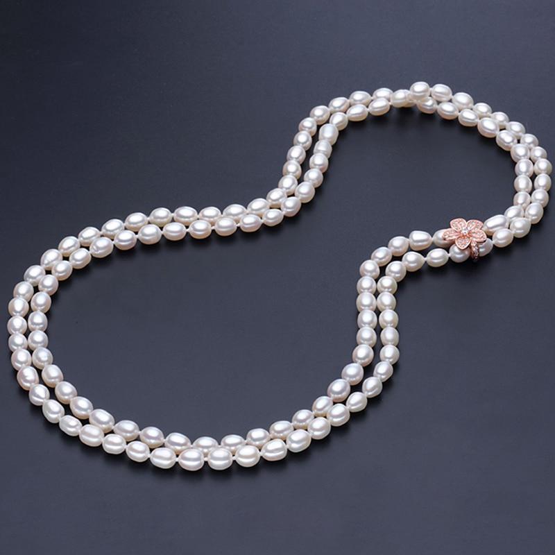 RUNZHUQIYUAN 2017 100% perle d'eau douce naturelle long collier véritable perle pour les femmes pour fille meilleurs cadeaux bijoux de mariage - 2