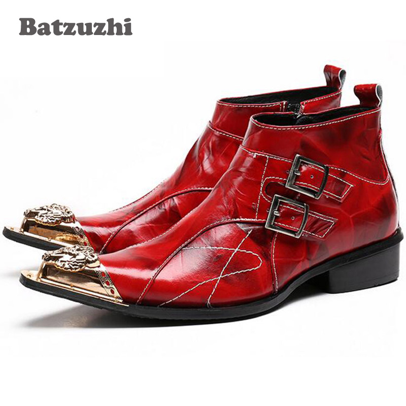 Batzuzhi Italian Style Men Boots Red Leather Ankle Boots Pointed Toe Metal Tip Fashion Dress Boots Man Botas Hombre, Big Size 46 batzuzhi italian style boots men fashion red dress leather boots zip pointed toe red leather ankle boots for man party wedding