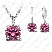 2017 Selling 925 Sterling Silver Jewelry Sets 4 Claws Cubic Zirconia CZ Pendant Necklace Earring Fashion