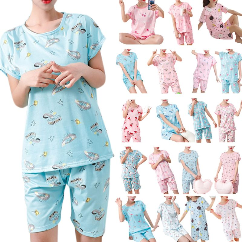 20 Styles Women Girls Summer Pajamas Set Short Sleeve Pullover Tops Loose Shorts Colorful Cartoon Stripes Floral Printed Milk