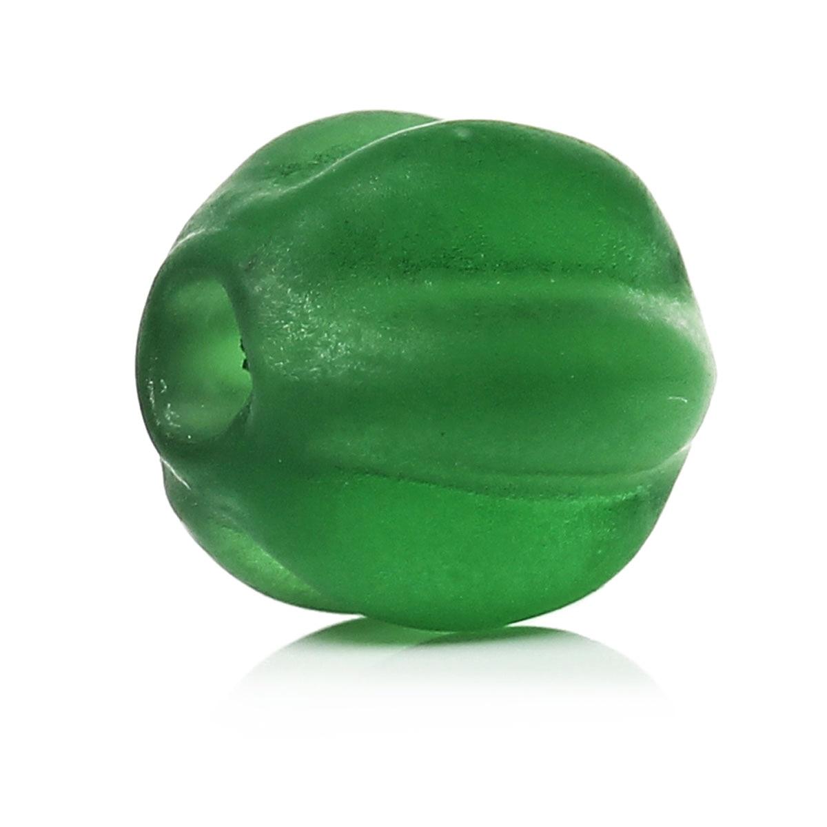 DoreenBeads Lampwork Glass Beads Pumpkin Shape Green Frosted About 8mm( 38) x 8mm( 38), Hole: Approx 2mm, 50 PCs