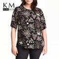 Kissmilk 2017 Mujeres Más El Tamaño Grande de Gran Tamaño 3XL 4XL 5XL 6XL de Manga Corta Casual Sexy Estampado floral Camiseta Floja Tapas de La Camiseta