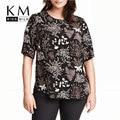 Kissmilk 2017 Mulheres Plus Size Grande Grande Tamanho 3XL 4XL 5XL 6XL de Manga Curta Casuais Sexy Floral Imprimir Tees Soltas Topos T-shirt